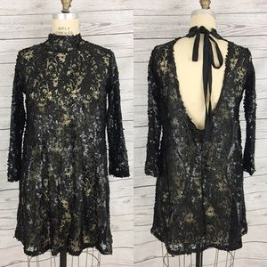 Zara Collection lace sequin black dress